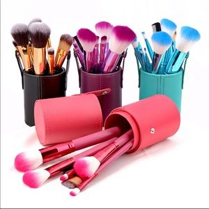 Other - 🔥BLUE🔥makeup brush set with cylinder 12 piece